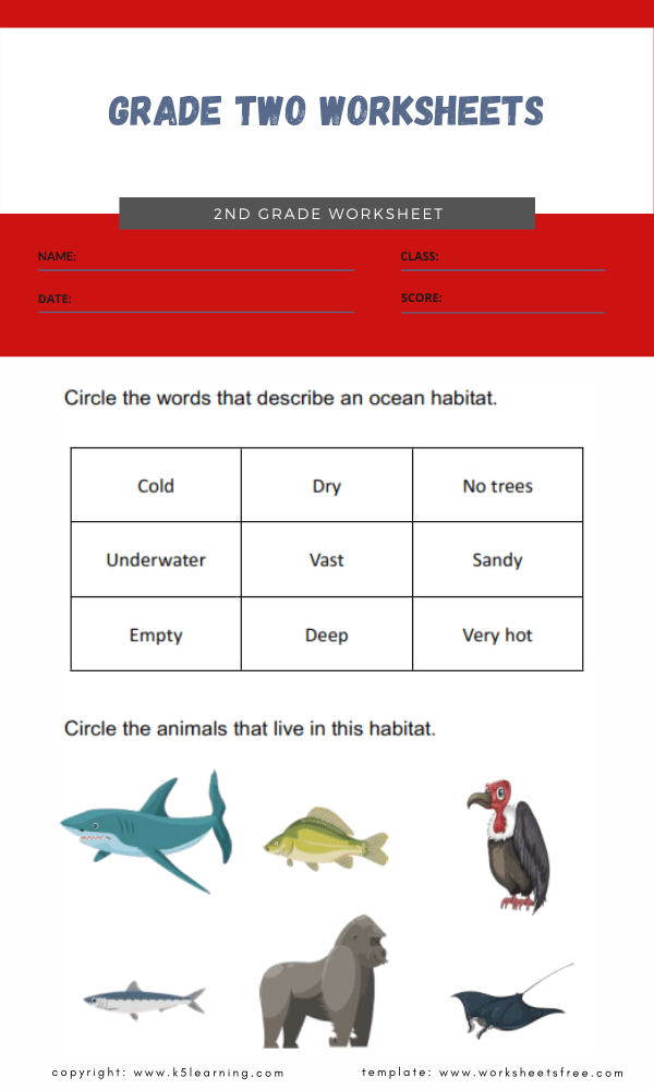 grade two worksheets 5