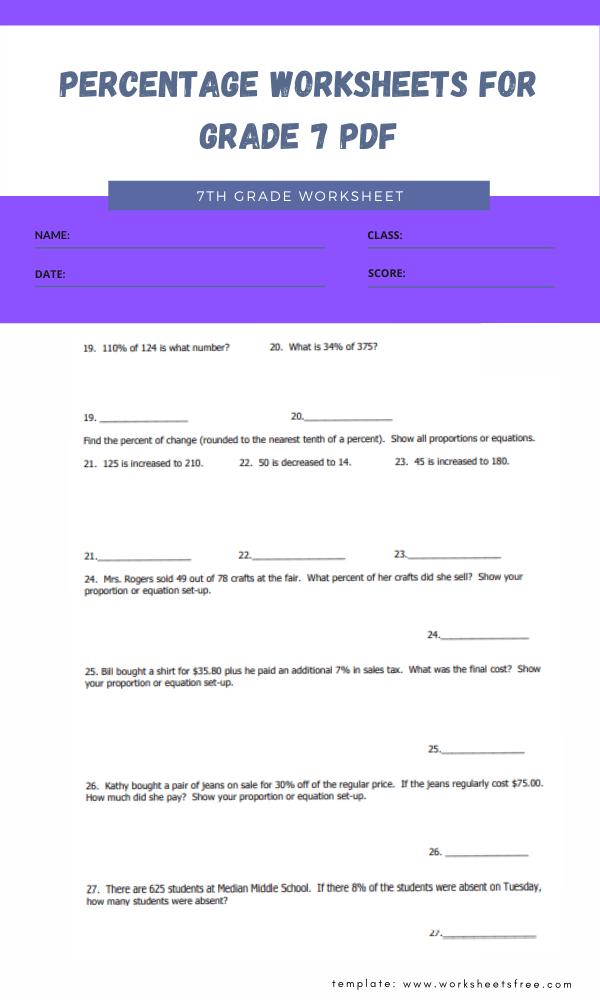 percentage worksheets for grade 7 pdf 2