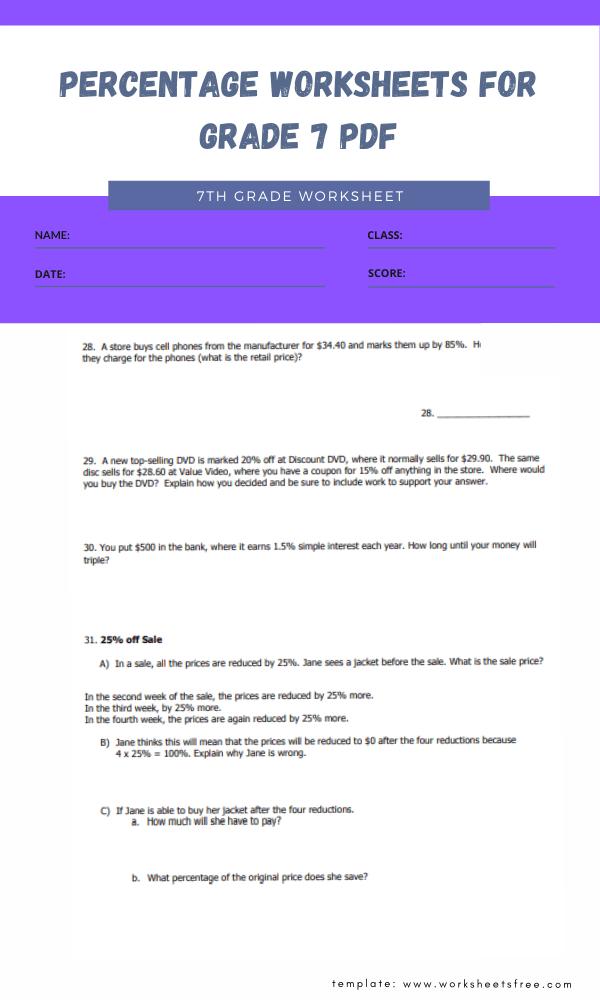 percentage worksheets for grade 7 pdf 3