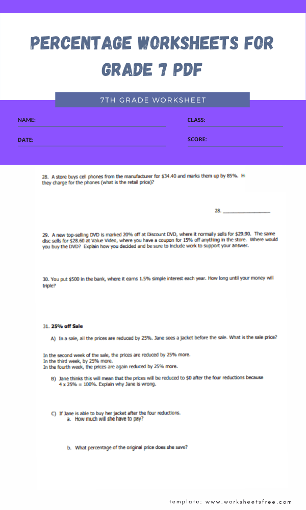 percentage worksheets for grade 7 pdf 3