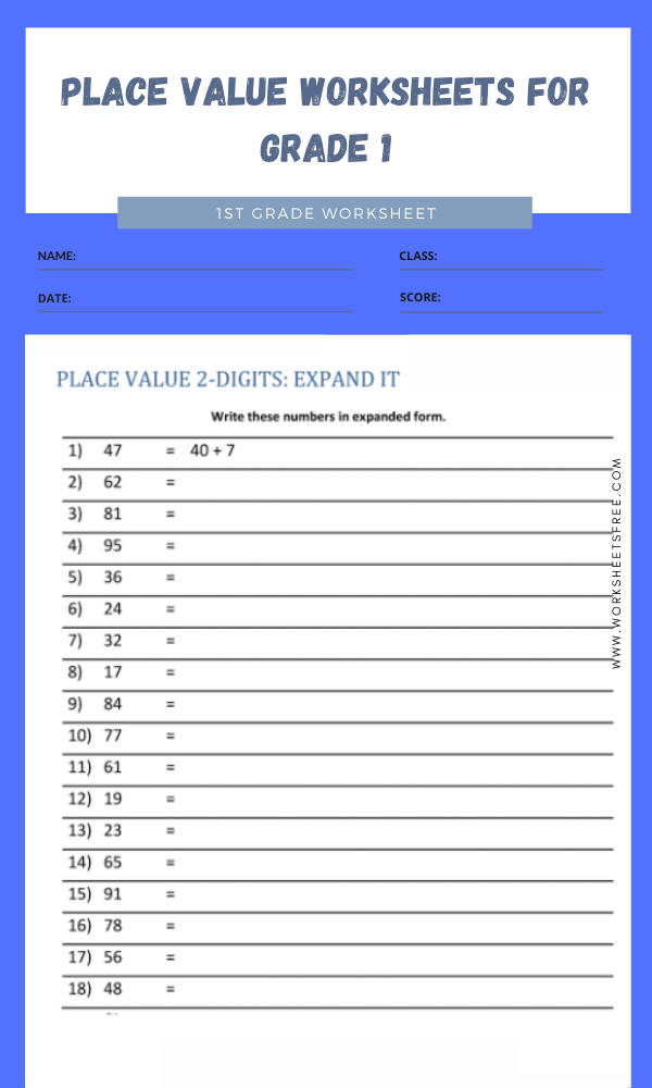 place value worksheets for grade 1 4