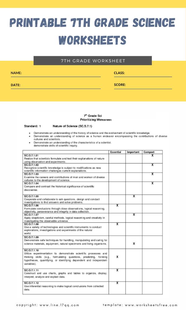 printable 7th grade science worksheets 4