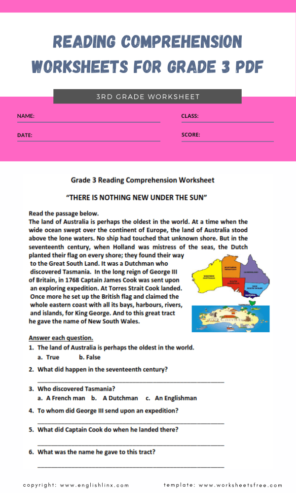 reading comprehension worksheets for grade 3 pdf 1