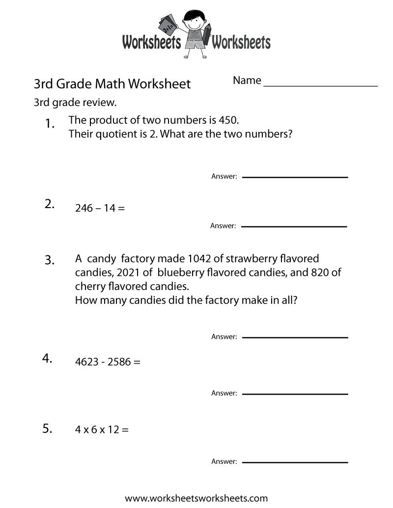 Third Grade Math Practice Worksheet Free Printable