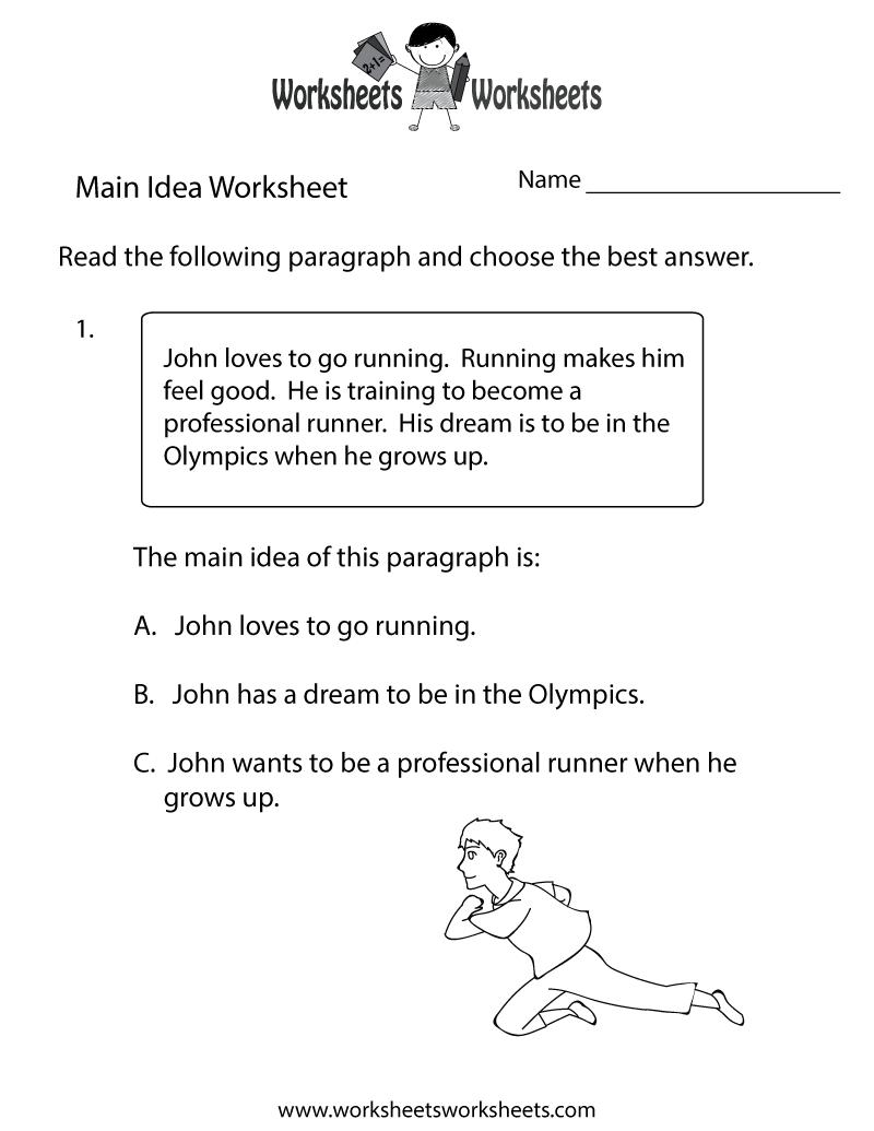 Main Idea Practice Worksheet