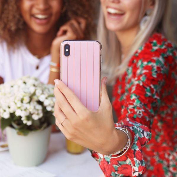 telefoonhoesje roze streep