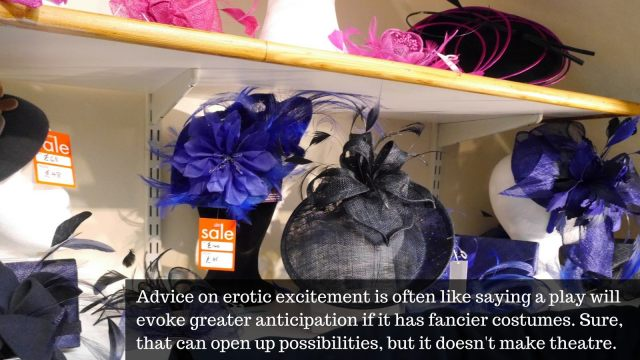 "Wedding fascinators with the text ""Advice on erotic excitement is often like saying a play will evoke greater anticipation if it has fancier costumes. Sure, that can open up possibilities, but it doesn't make theatre."""