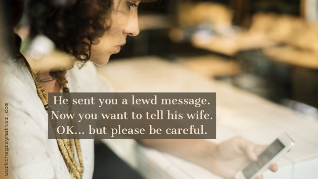 Picture of woman looking at her phone, not smiling, with the words: He sent you a lewd message. Now you want to tell his wife. OK... but please be careful. workthegreymatter.com