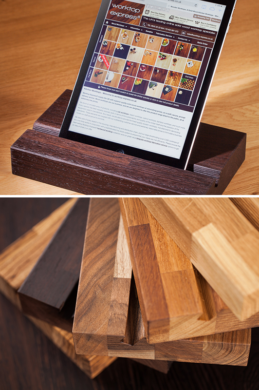 Solid Wood IPad Stands Wooden Tablet Holders Worktop