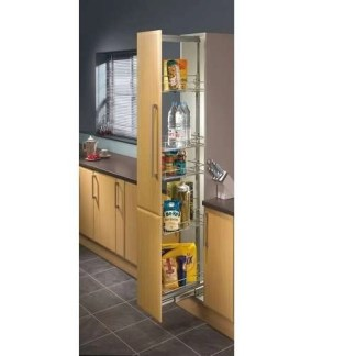 Pull Out Larder Unit, Chrome Linear Wire Baskets 300mm