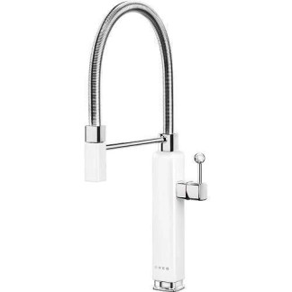 White Mixer Taps Single Lever With Pull Out Spray