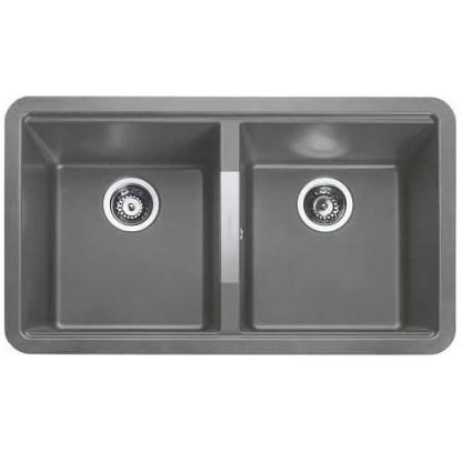 Grey undermount Sink Double Bowl Paragon Igneous