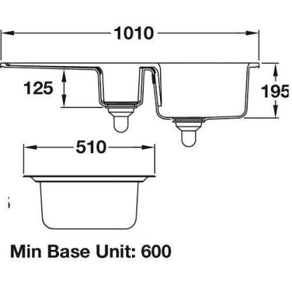 Sink, 1.5 Bowl and Drainer, Rangemaster Portland CPL10102WH