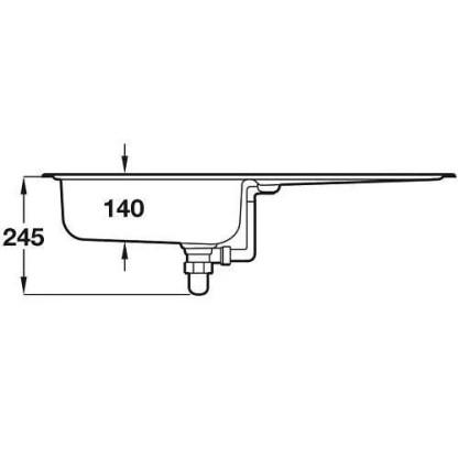 Sink, Single Bowl and Drainer, Rangemaster Euroline EL860