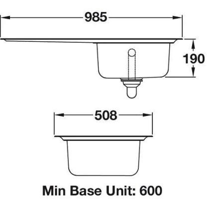 Sink, Single Bowl and Drainer, Rangemaster Oakland OL9851