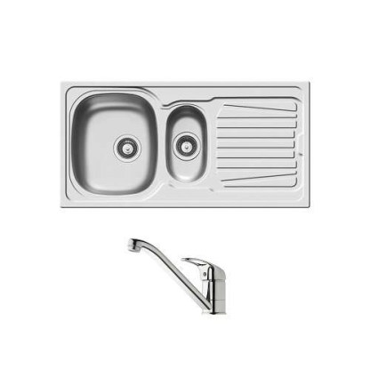 Sink and Tap Set, 1.5 Bowl with Drainer, 1000 mm, Sparta