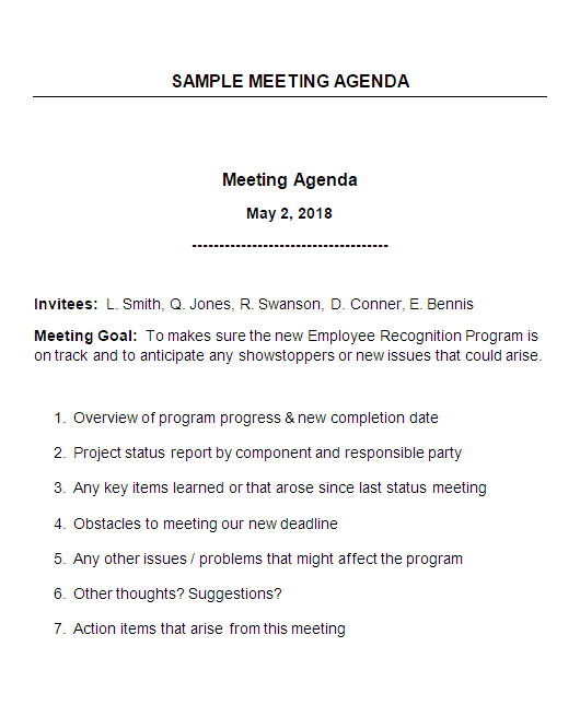 Sample meeting agenda with notes