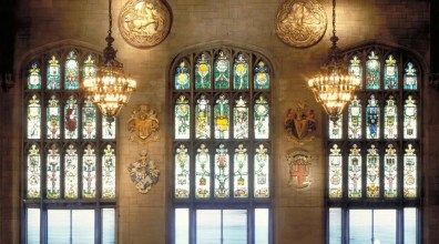Gorgeous stained glass windows in the Cathedral Hall, courtesy of UCOC.