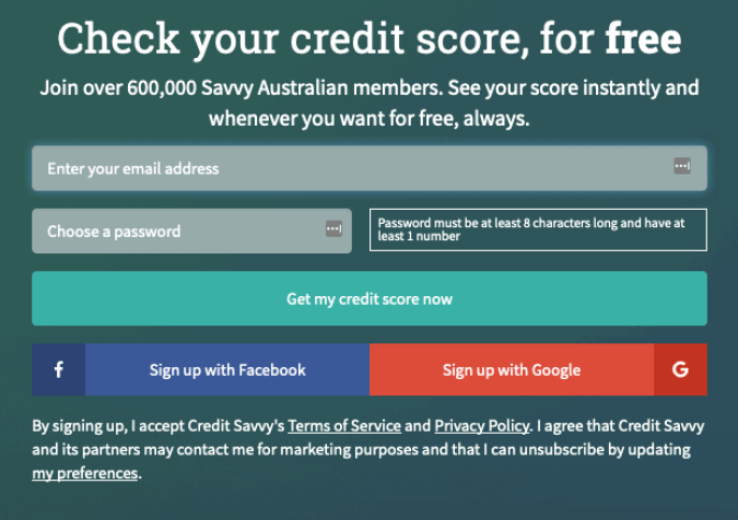 Signing up with Credit Savvy
