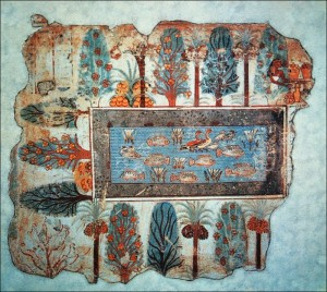 Egyptian Blue is used in the 'Pond in a garden' fresco found in the tomb of Nebamun in Thebes.