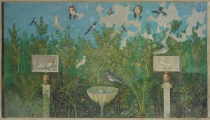 The north wall fresco of the 'garden room'