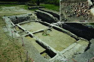The foundations of merchants' quarters at Lattara, dated c.525-474 BC, in which imported Etruscan amphorae were found (inset). Photo: Michel Py, © UFRAL.