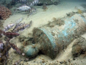 A cannon from the wreck of HMS Victory (1744).