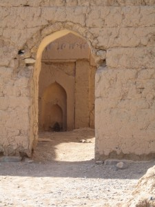 A characteristically shaped Arabian doorway from a quiet corner in the fortress at Nizwa.