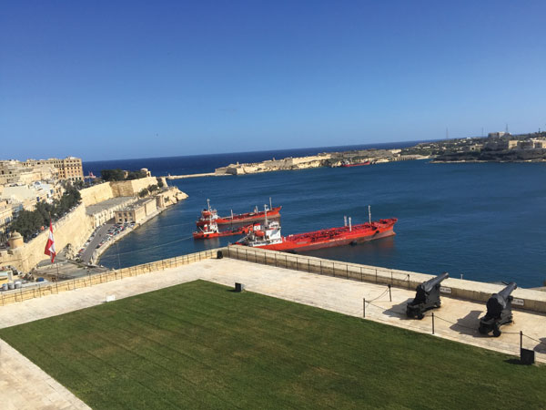 View across Malta's thriving Grand Harbour