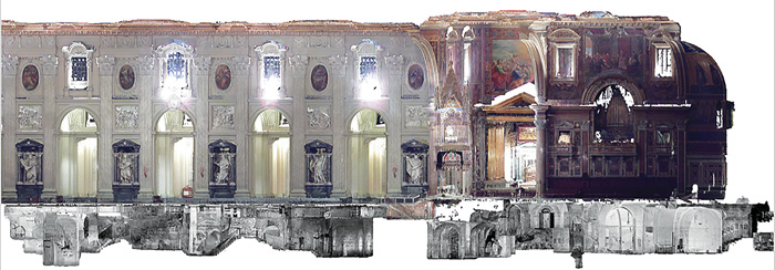 A radically reduced two-dimensional image derived from the project's full-size digital model of the Lateran excavations and Basilica interior. The model, generated by laser-scanning survey, facilitates the investigation of relationships between different parts of the complex's vast interior.