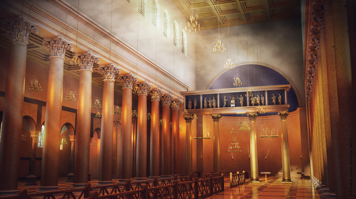 A digital reconstruction of the Lateran during Constantine's day, showing the liturgical fence and featuring numerous sources of light that can be turned on or off to provide a sense of what visiting the world's first cathedral was really like.