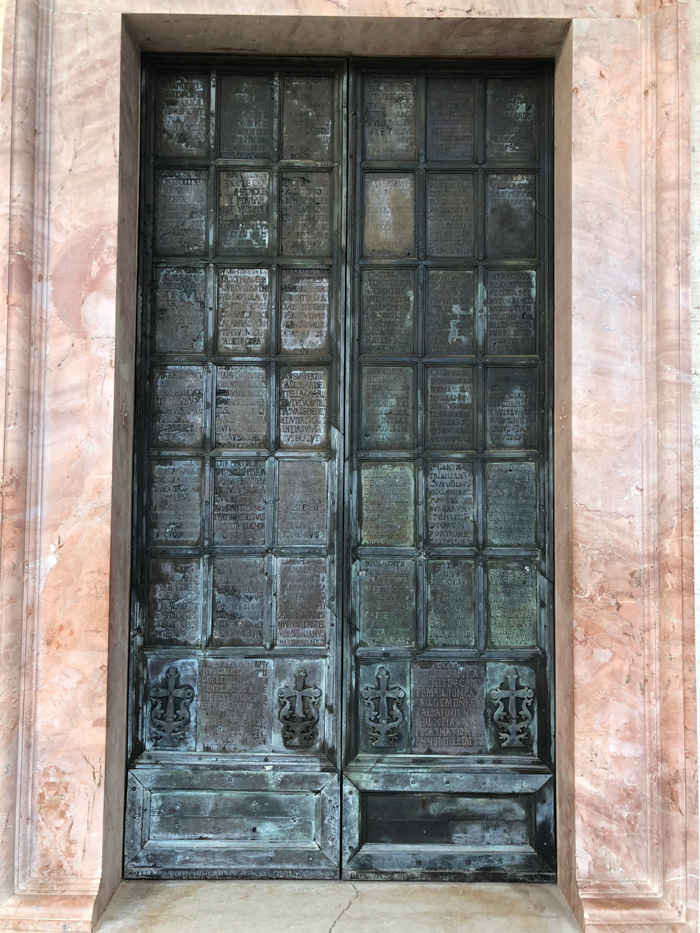 Large Byzantine bronze door inscribed with names of churches and lands