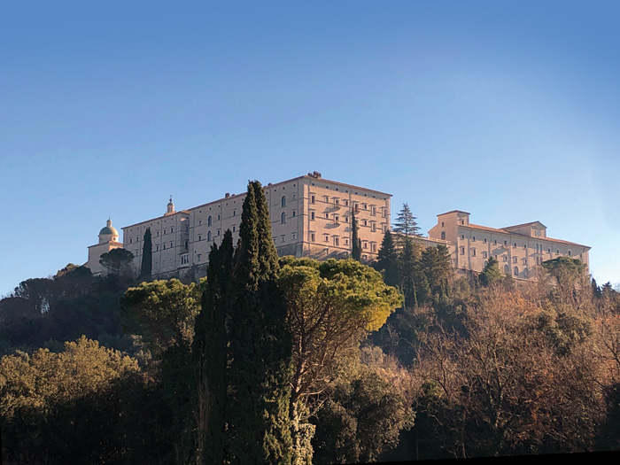 View of the monastery at Monte Cassino on top of hill
