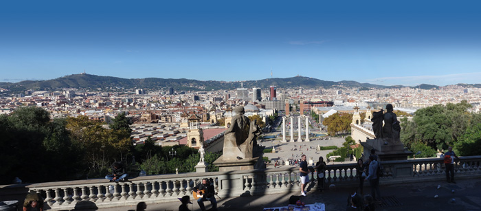 Panorama of Barcelona from terrace, with hills in background