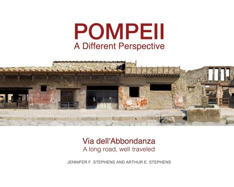 Book cover for Pompeii, a different perspective, showing photomosaic of Roman ruins in via dell'Abbondanza