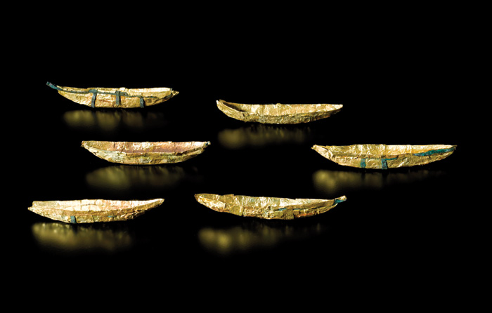 Six small gold model boats dating from the Bronze Age