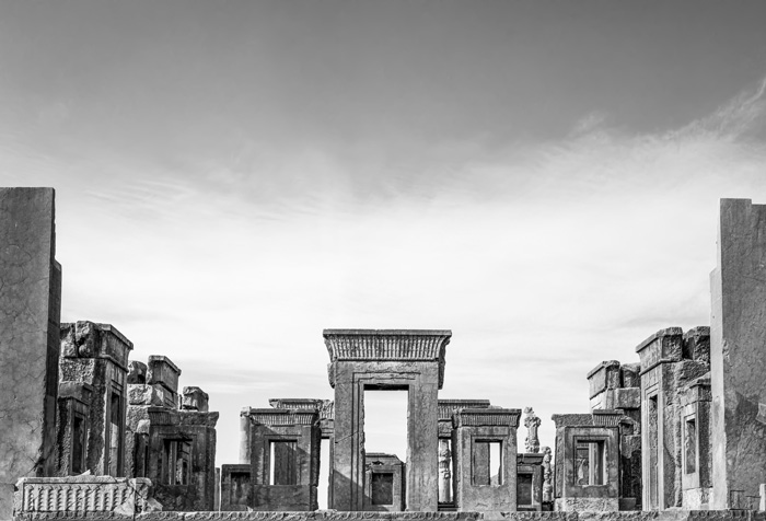 Black and white photo of ancient palace ruins