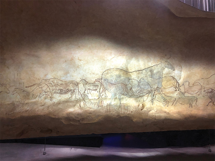 Facsimile of overlapping herbivores painted at Lascaux