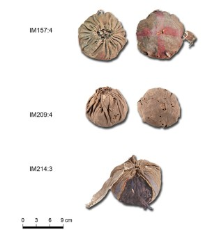 Three leather balls found at Yanghai