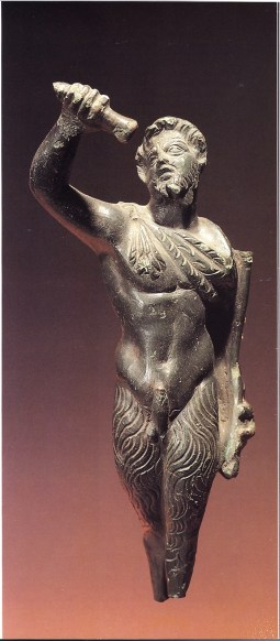 A bronze statuette of Pan