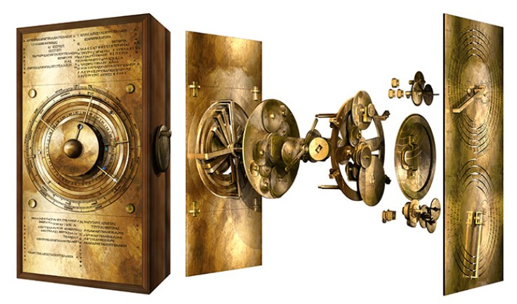A digital reconstruction of the Antikythera Mechanism, a gold rectangular object with dials and gears.