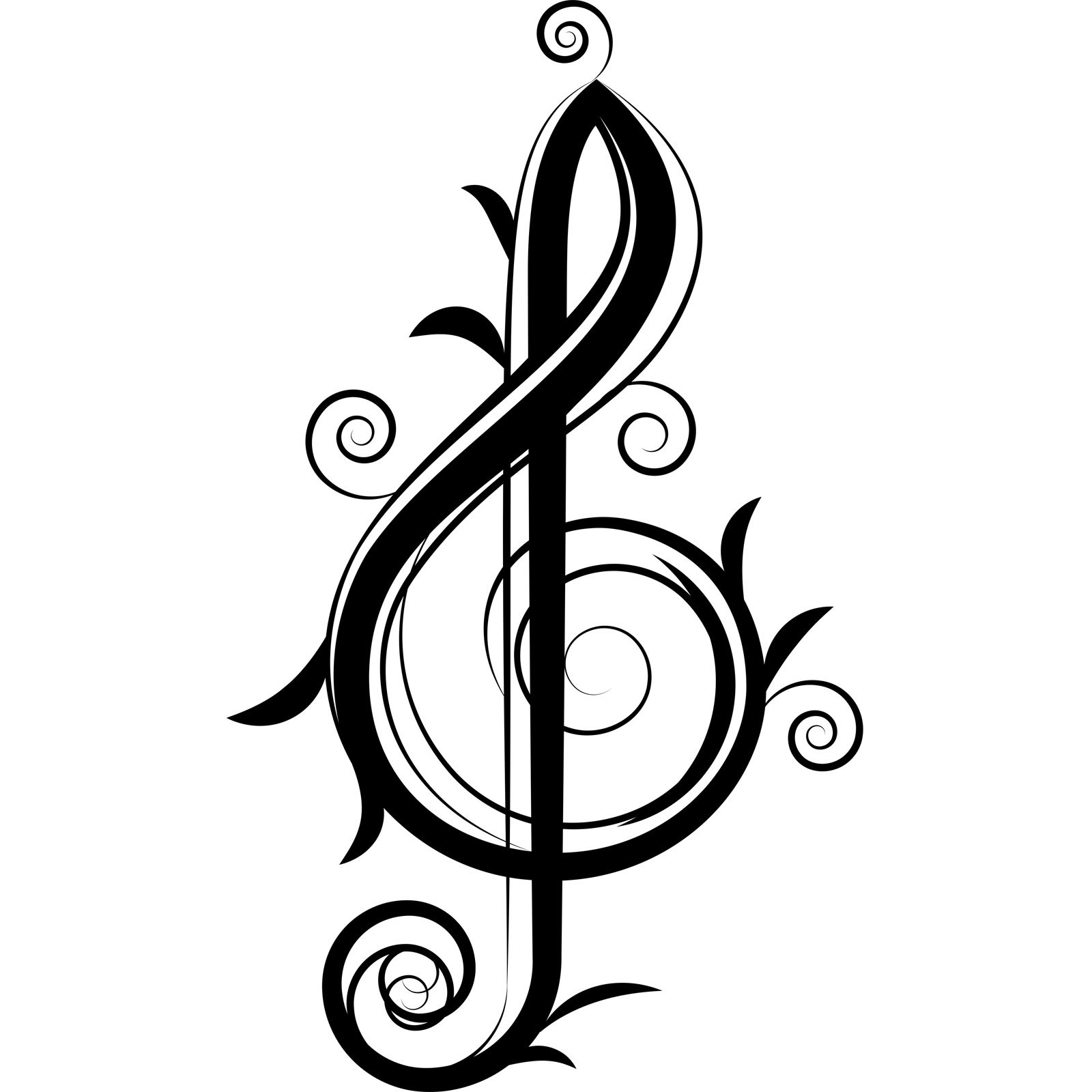 Fancy Teble Clef Musical Wall Sticker Decal
