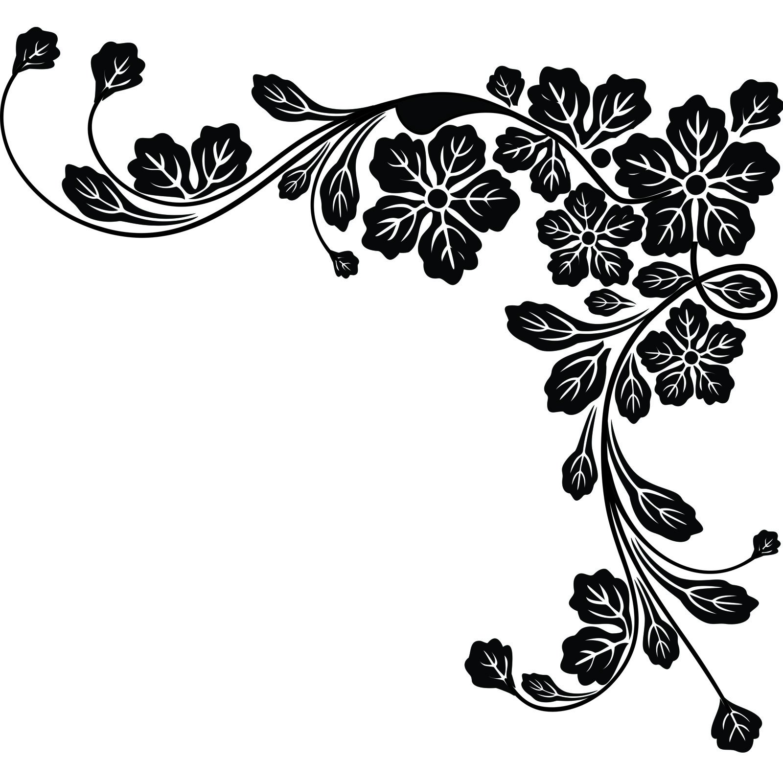 Floral Corner Leaves Wall Sticker