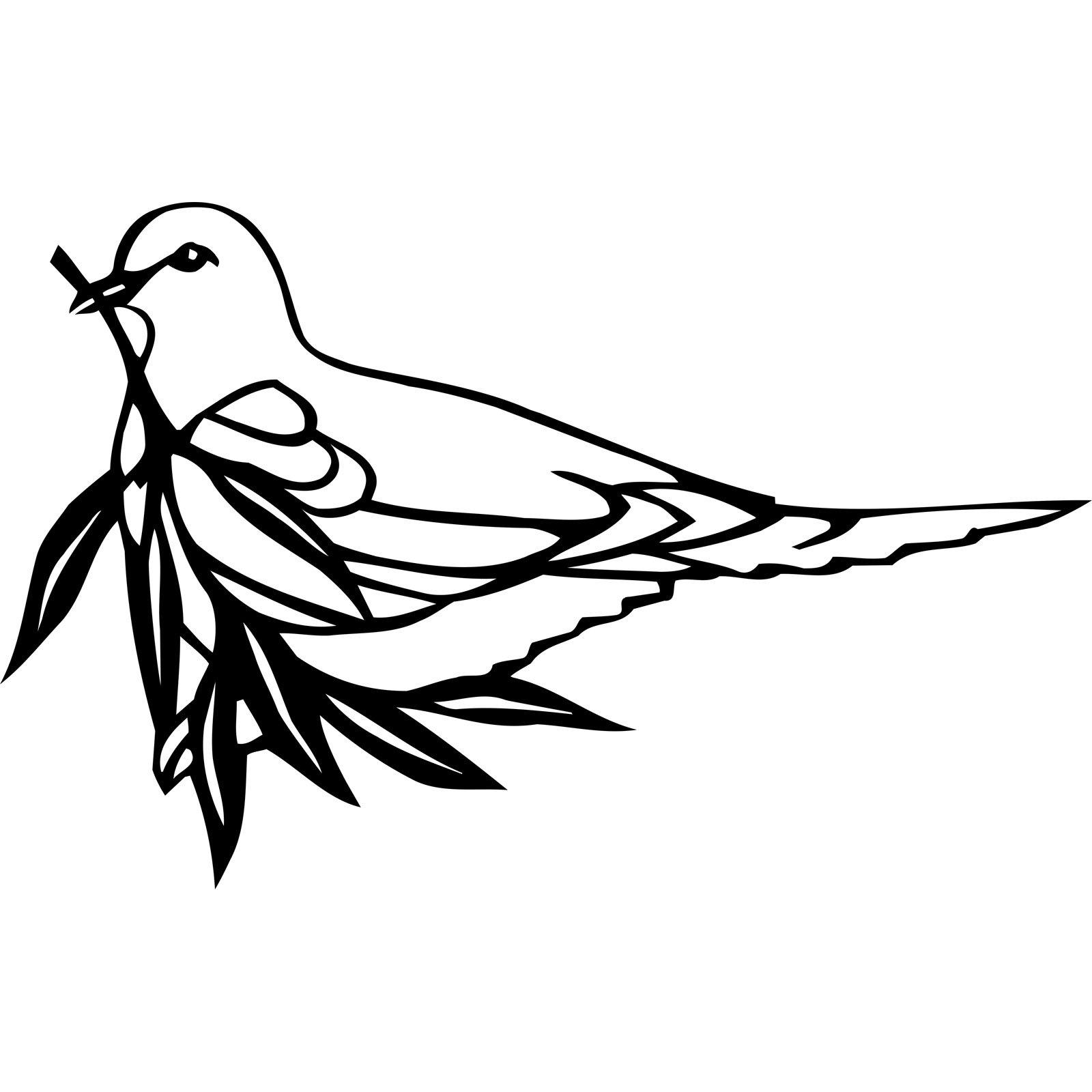 Dove Holding Olive Branch Bird Wall Sticker