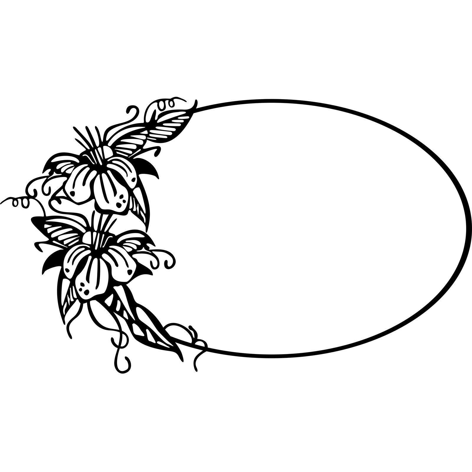 Oval Frame With Floral Design Wall Sticker