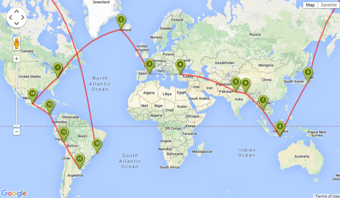 How might my route change over a year of RTW travel?
