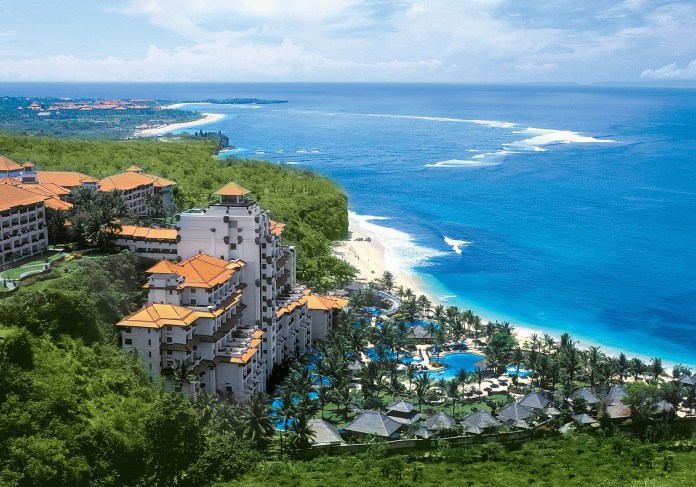 Bali, Indonesia, Resort and beach view from top