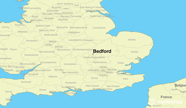 Image result for bedford uk map