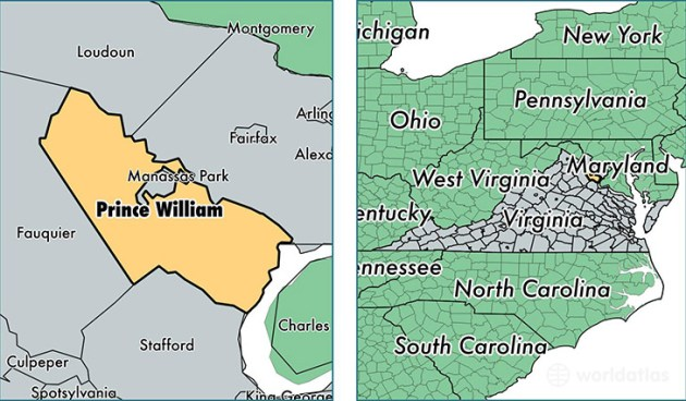 Prince William County  Virginia   Map of Prince William County  VA     location of Prince William county on a map