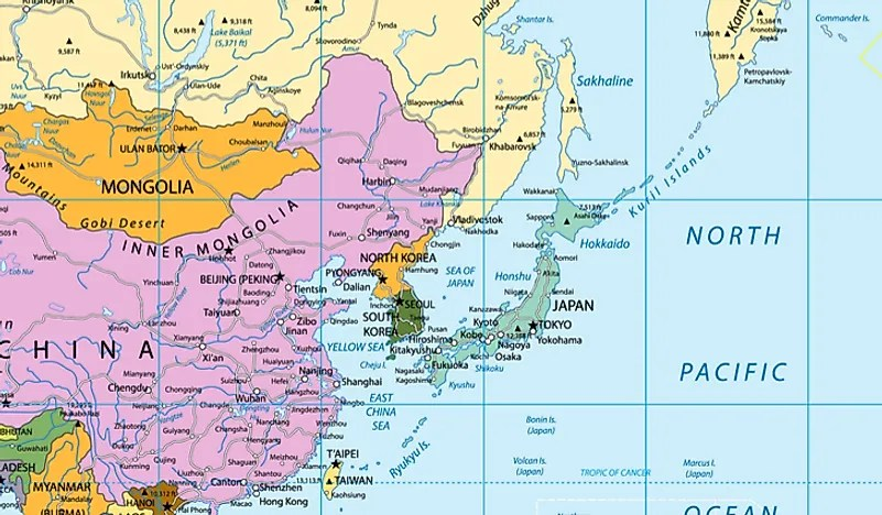 Taiw South Korea Map Including Korea Only Countries China China Mongolia North
